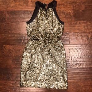 Tahari Gold Sequin Cocktail Dress